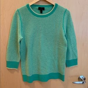 J Crew Cashmere Waffle Sweater Green Lime